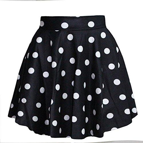 Jiayiqi Mujeres Skater Falda Encantadora Puntos Impresos Acampanada Falda Multicolor Blanco y negro