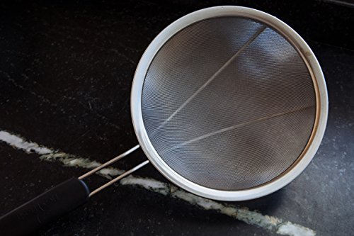 LiveFresh Large Stainless Steel Fine Mesh Strainer with Reinforced Frame and Sturdy Rubber Handle Grip - Designed for Chefs and Commercial Kitchens & Perfect for Your Home - 9 Inch / 23 cm Diameter by LiveFresh (Image #1)