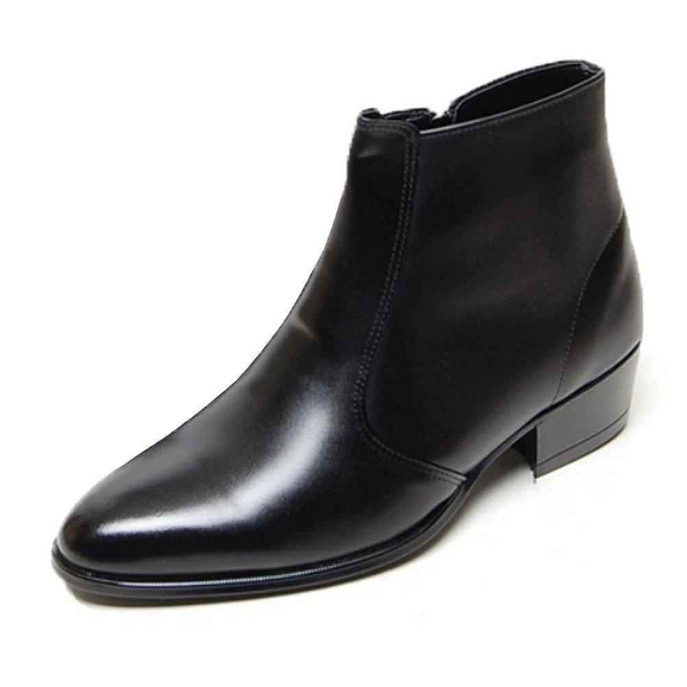 EpicStep Men's Black Genuine Cow Leather Dress Shoes Formal Casual Zipper Ankle Boots 9.5 M US