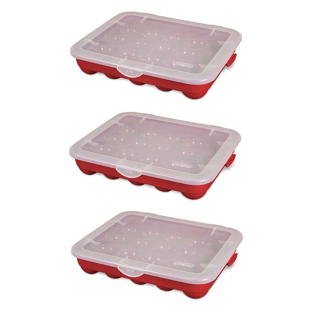 Sterilite 20 Compartment 3'' Ornament Storage Case with Lid, Red (3 Pack)