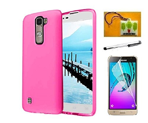 LG K7 Case, LG Tribute 5 Case (Metro PCS) 3 Item Bundle, Luckiefind® Frosted Matte TPU Flexible Thin Gel Cover Case, Stylus Pen, Screen Protector & Wiper Accessory (TPU Pink)