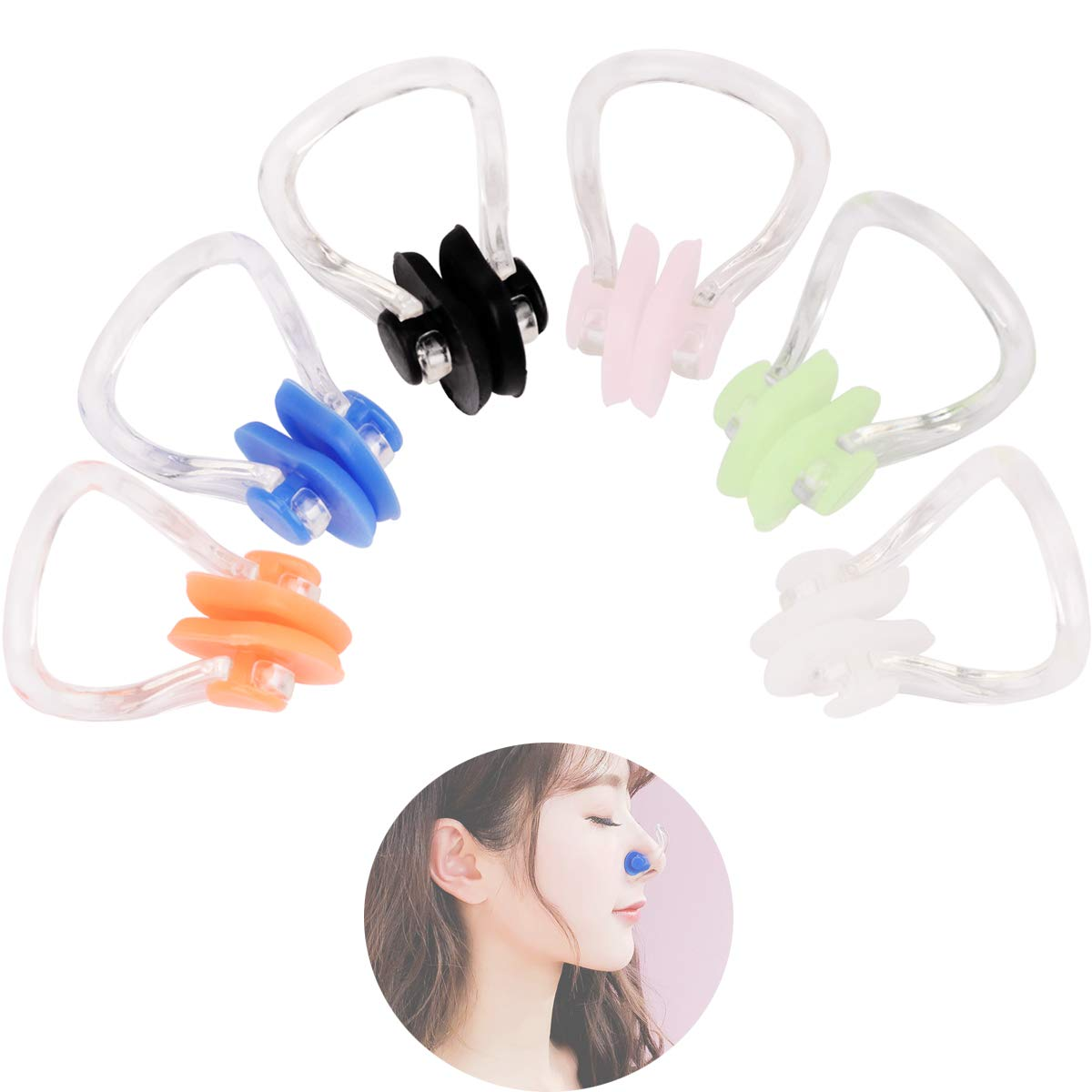 Kicosy 12 Pack Swimming Nose Clip Silicone Swimming Protector Diving Nose Clips Waterproof Swimming Nose Clips Swimming Supplies 6 Colors Comfortable Soft Latex for Kids and Adults