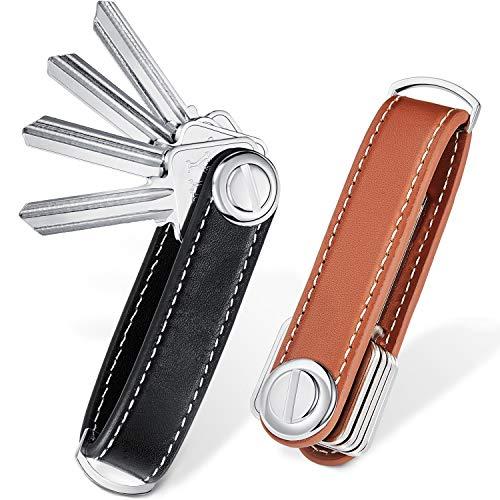 2 Sets Leather Key Organizer Compact Key Holder Folding Pocket Key Holder up to 16 Keys (Black, Brown)