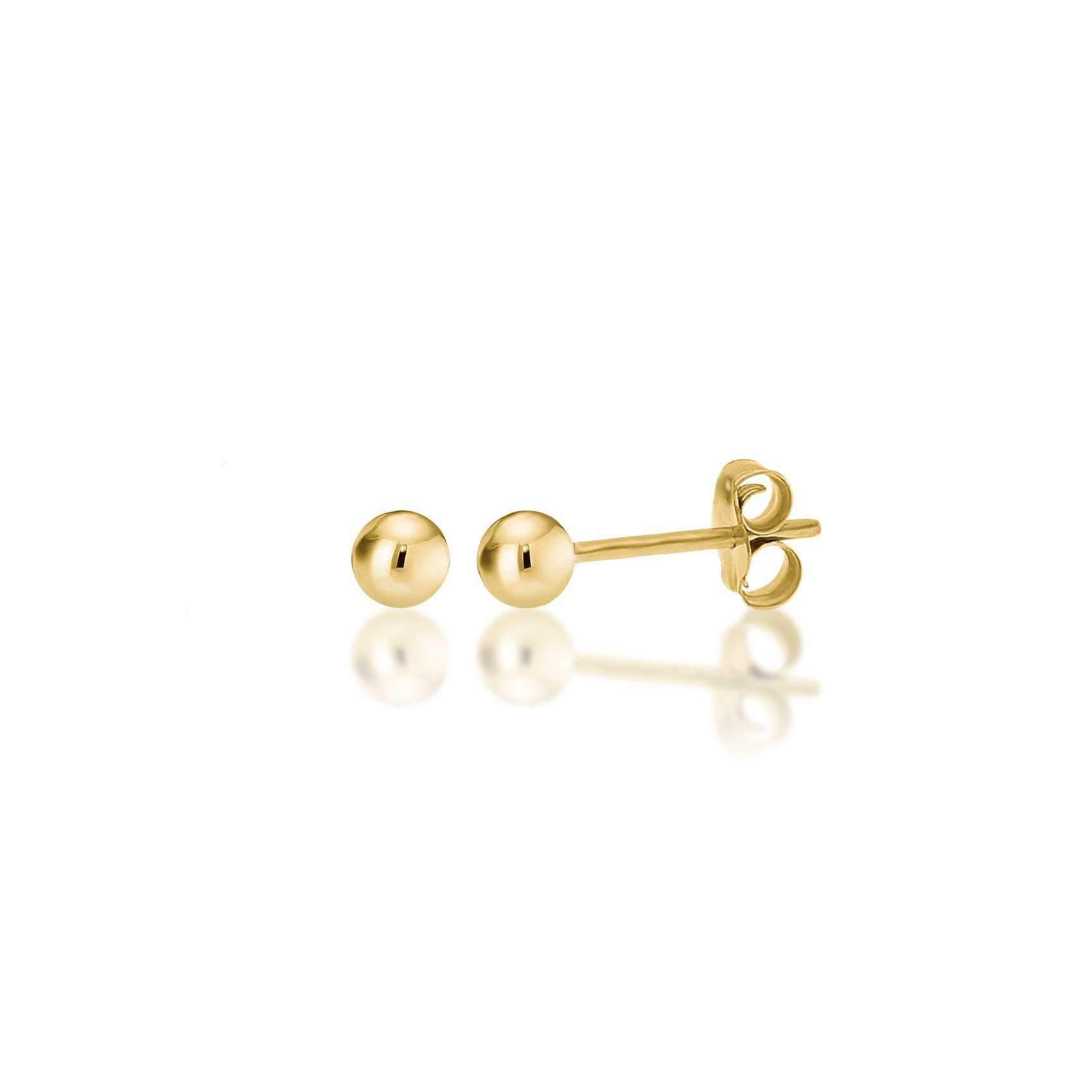 14K Yellow Gold Filled Round Ball Stud Earrings Pushback 3mm