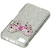 Aimo Wireless BB10PC3D816 3D Premium Stylish Diamond Bling Case for BlackBerry Z10 - Retail Packaging - Pink Bow Tie