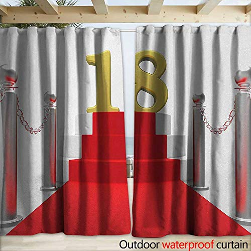 warmfamily 18th Birthday Outdoor Waterproof Curtain Hollywood Greeting for a 18 Year Old Star Party Red Carpet Image W120 x L96 Red Silver and ()