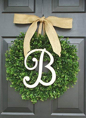 Elegant Holidays Handmade Thin Artificial Boxwood Wreath with Monogram/Bow, Welcome Guests- Decorative Front Door- Outdoor, Storm Doors, Indoor Home Wall Décor, All Seasons & Holidays Sizes 16-24 inch