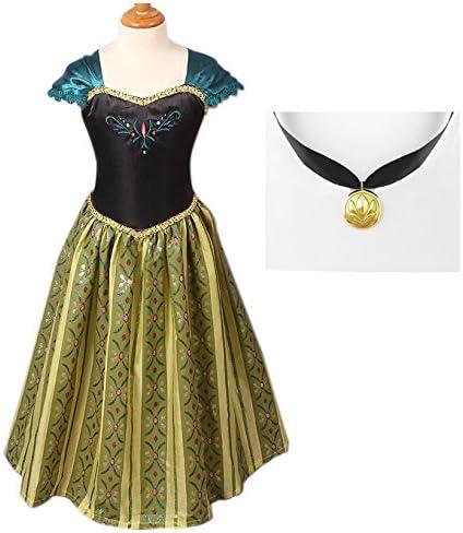 【コスプレ】アナと雪の女王 アナ 子供用ドレス プリンセスネックレスセット (120)