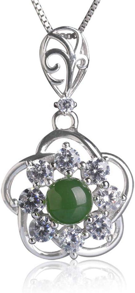 DHCY Collar de Plata esterlina 925 para Mujer Colgante de Jade Natural de Hetian Collar de Esmeralda de Piedras Preciosas Colgante de Perlas Verde Caja de Regalo