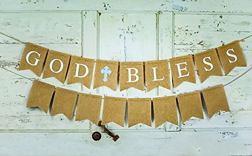 "Art & Soul Products Burlap Banner Set With 1 God Bless Banner 79"" Long For Communion Party, Baptism Or Christening, Plus 8 Unprinted flags Swallow-Tailed Bonus Banner 60"