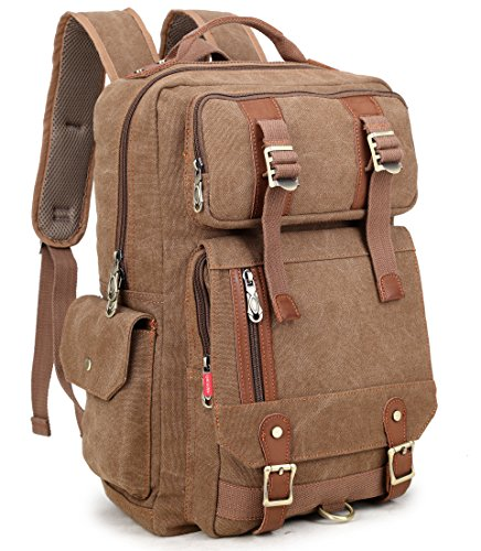 Crest Design Canvas Hiking Travel Daypacks School Laptop Backpack Rucksack 30L (Brown)