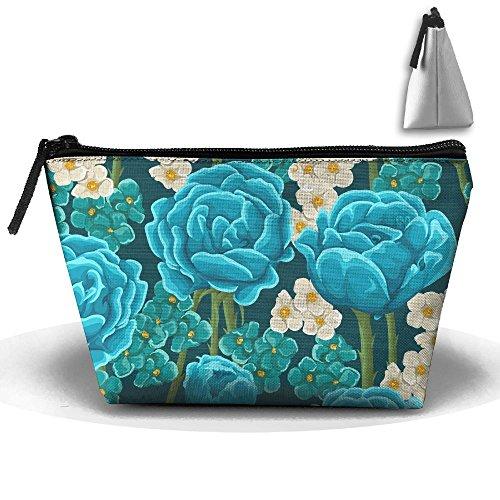 Blue Rose Portable Zipper Travel Organizer Classic Cosmetic Bags Make Up Bag Toiletry Bag Brush Organizer Coin Purse Pencil Holder For - Malu Sunglasses