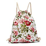 Outsta Canvas Pouch Bag, Fashion Women Print Flower Cute Messenger Bags Simple Crossbody Drawstring Hanging Sack Sport Beach Travel Outdoor Backpack Classic Casual (Red)