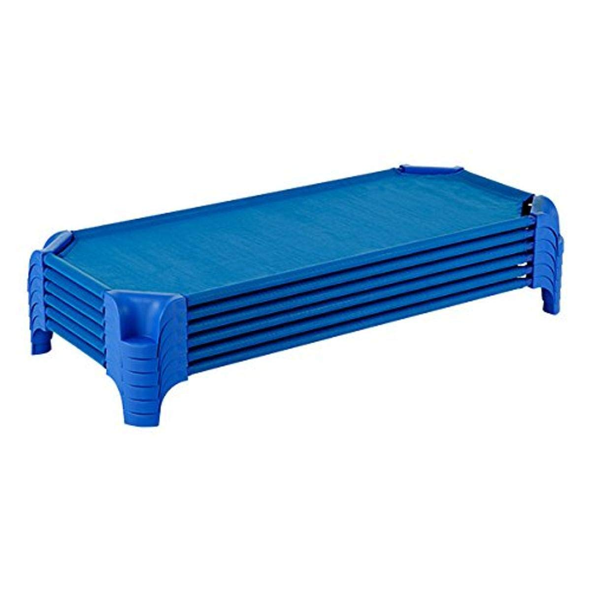 Sprogs SPG-16137-BL-SO Heavy-Duty Stackable Daycare Cot Rest Mat Standard w Easy Lift Corners, 5 Height, 23 Width, 52 Length, Blue Pack of 6