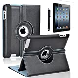 iPad Mini 4 Case, Zeox 360 Degree Rotating Case PU Leather Stand Smart Protective Cover With Wake Up/Sleep For Apple iPad Mini 4 (2015 Release) with Screen Protector and Pen, Black