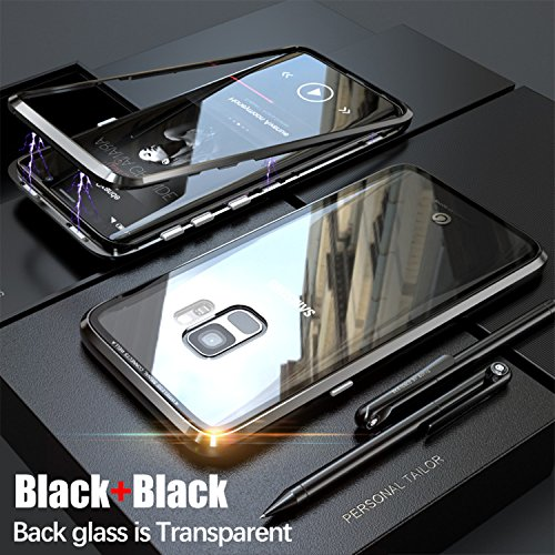 Magnetic Adsorption case for samsung S9 case luxury metal bumper+Transparent tempered glass for samsung galaxy s9 plus cover s9p (Black, Samsung S9)