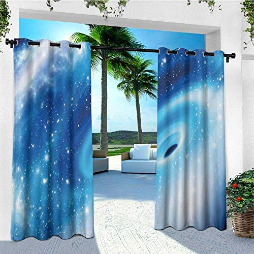 (leinuoyi Constellation, Sun Zero Outdoor Curtains, Supermassive Black Hole at The Milky Way Galactic Center Astral Motion, for Patio W96 x L96 Inch Aqua Blue White)
