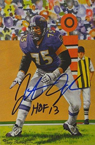 Jonathan Ogden HOF Autographed Baltimore Ravens Goal Line Art Card- JSA Auth Baltimore Ravens Goal Line