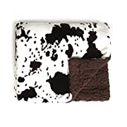 Tadpoles Cowhide Print Double Layer Blanket, Brown/White