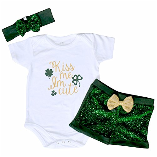Unique Baby Girls 1st ST Patricks Day Kiss Me I'm Cute Layette Set (Newborn) -