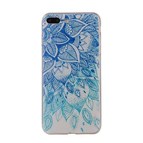 Soft Blue Flower (iPhone 7 Plus Tpu Case,IKASEFU Pretty Butterfly Flower Design Slim Fit Soft Gel Clear Transparent Bumper Tpu Rubber Case Cover for iPhone 7 Plus 5.5