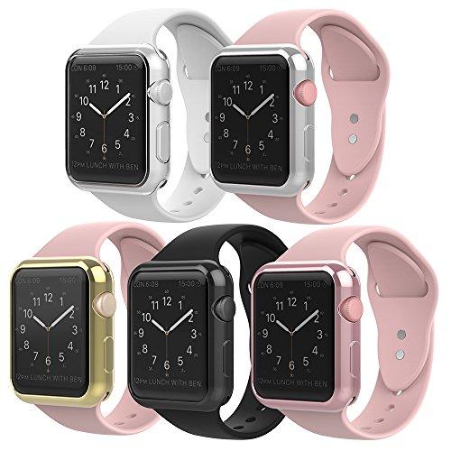 Simpeak Case Frame for Apple Watch 38mm,[5 Packs] Simpeak Slim Scratch Resistant Soft Case for 38mm Apple Watch Series 2,Transparent, Black, Gold, Rose Gold, Silver by Simpeak (Image #2)