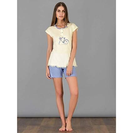 Pijama de verano para mujer de manga corta y pantalones cortos amarillo 50