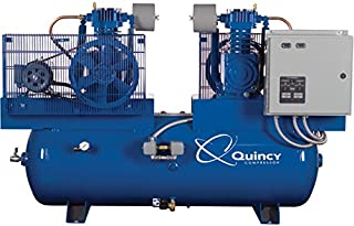 product image for Quincy Duplex Air Compressor - 5 HP, 460 Volt, 3 Phase, 80 Gallon Horizontal, Model Number 253DC80DC46