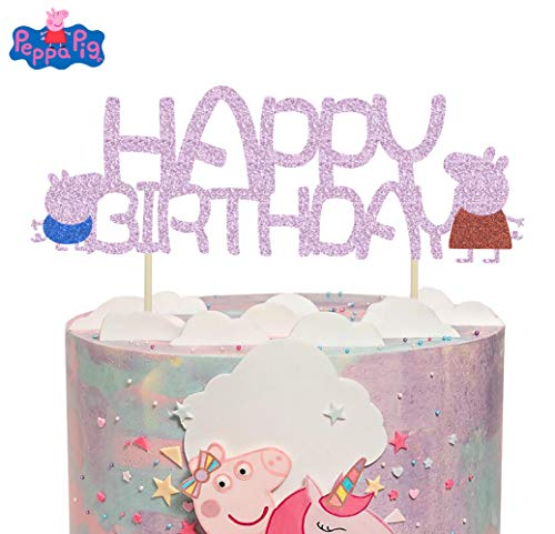 Peppa Pig Cake Topper (KAPOKKU Peppa Pig Family Glitter Cake Toppers Party Decorative for Kids Birthday Party Baby Shower (peppa pig Cake)