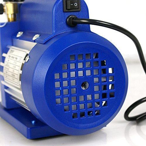 ZENY 4CFM Single-Stage 5 Pa Rotary Vane Economy Vacuum Pump 3 CFM 1/3HP Air Conditioner Refrigerant HVAC Air Tool R410a 1/4 Flare Inlet Port, Blue by ZENY (Image #4)