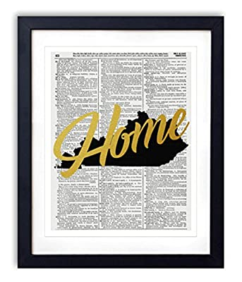 "Kentucky Home Gold Foil Art Print - Vintage Dictionary Reproduction Art Print ""Home"" Definition 8x10 inches Unframed"