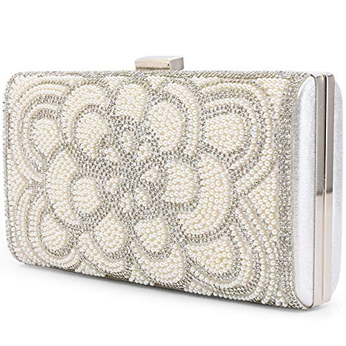 Women Clutch Evening Bag Elegant Beaded Shoulder Bag Luxurious Handbag Purse (Silver AC)