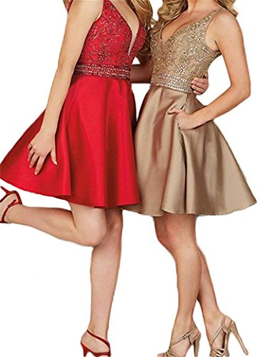 Beaded Cocktail Gown - Hatail Women Beaded Cocktail Homecoming Dress Short Double V Neck Prom Gown