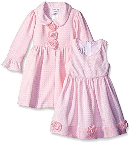 Bonnie Jean Baby Girls' Check Jacquard Dress and Coat Set, Pink, 6-9M (Coat Jacquard Dress)
