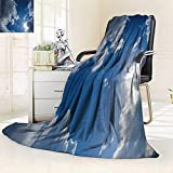 YOYI-HOME 300 GSM Fleece Duplex Printed Blanket halong Clear Weather Sky Sun on Blue Sky with Clouds Solar of cleanenergy Power Super Soft Warm Fuzzy Bed/47 W by 79'' H