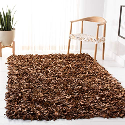 Safavieh Leather Shag Collection LSG511K Hand Woven Brown Leather Area Rug (8' x ()