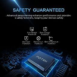 POTEK 300W Power Inverter DC 12V to AC 115V Digital Display Car Inverter with Dual AC Outlets and Dual USB Charging Ports