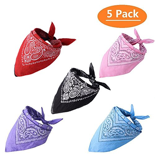 Small Bandana - KOOLTAIL 5 Pack Dog Bandanas Paisley Pet Scarfs Cute Triangle Bibs for Medium and Large Dogs