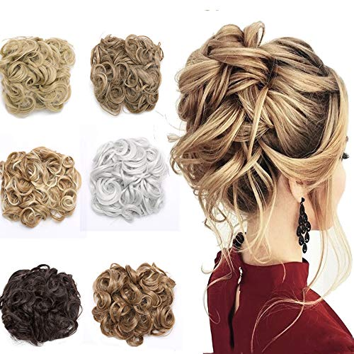 Curly Combs Hair Bun Extensions Japanese Synthetic Hair Easy Stretch Hair Dish Chignon Clip in Updo Hairpiece Ponytail Scrunchy for Women 120g Highlighted Ash Blonde Mix Bleach Blonde