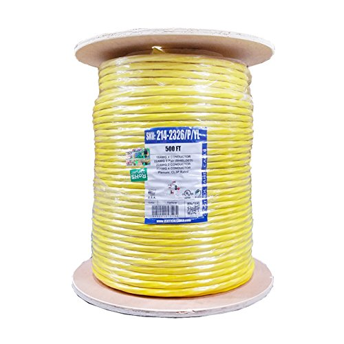 Access Control Cable Plenum: 22AWG/3 Pair Shielded + 18AWG/4 Conductor + 22AWG/4 Conductor + 22AWG/2 Conductor, Stranded Bare Copper Conductors, Yellow, 500ft (Yellow 500' Spool)