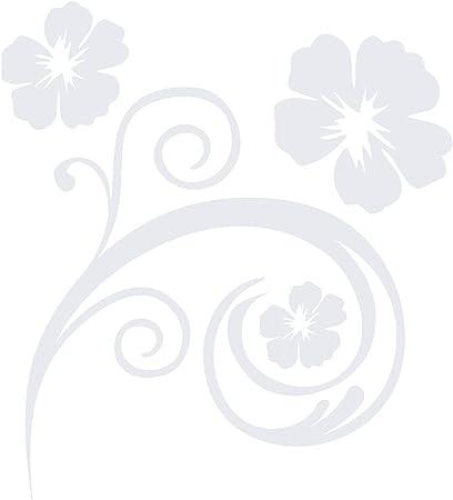 Kleb Drauf 1 Blumenranke Weiß Glänzend Autoaufkleber Autosticker Decal Aufkleber Sticker Auto Car Motorrad Fahrrad Roller Bike Deko Tuning Stickerbomb Styling Wrapping Auto