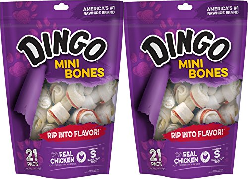 (2 Pack) Dingo Mini – White 2.5 Inch, 21 Bones each