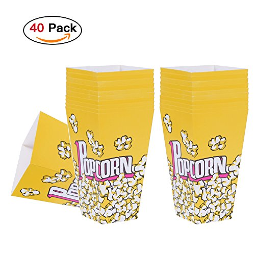 Sportrodo 40Pcs Open-Top Disposable Paper Popcorn Boxes Cardboard Snacks Container Candy Bags for Carnival, Party, Movie, Wedding, Appointment and Outdoor Activities