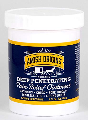 (Amish Origins Pain Relief Ointment for Arthritis, Colds, Sore Throats, Restless Legs, Aching Joints 7 Ounce)
