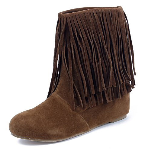 Suede Boots Shoes Ankle AgeeMi Pull Faux Fringed Coffee On Shoes Flat Women's wXnwq7zTUx