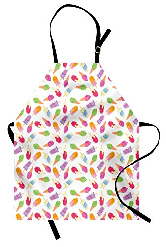 Ambesonne Ice Cream Apron, Cartoon Style Cones with Vibrant Colored Creamy Scoops and Popsicles Sweet Tooth, Unisex Kitchen Bib Apron with Adjustable Neck for Cooking Baking Gardening, Multicolor