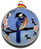 Hand Painted Glass Ornament, Blue Birds with Pink Cherry Blossoms CO-181