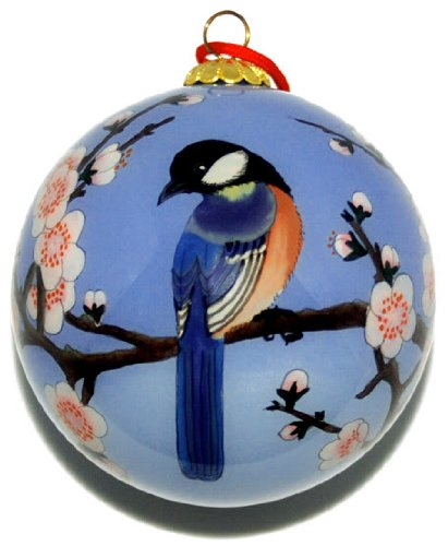 Hand Painted Glass Ornament, Blue Birds with Pink Cherry Blossoms ()