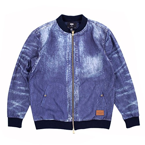 Crooks & Castles Mens Defiance Knit Baseball Jacket X-Large Washed Denim