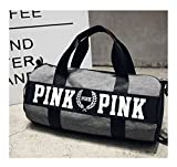 Beauty Smooth Design Lightweight Water-Resistant Folding Nylon Shoulder Bags or Holdall Pink Gym Sports Bag (grey)